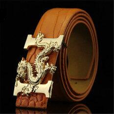 ราคา Men Fahion New Belt Dragon Buckle Mbt88Tt04 3 Brown Unbranded Generic