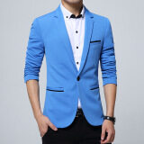 ขาย ซื้อ Men Slim Fit Fashion Cotton Blazer Suit Jacket Black Blue Khaki Plus Size M To 5Xl Male Blazers Coat Light Blue จีน