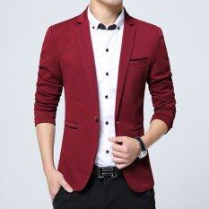 ขาย Men Slim Fit Fashion Cotton Blazer Suit Jacket Black Blue Khaki Plus Size M To 5Xl Male Blazers Coat Red Unbranded Generic เป็นต้นฉบับ