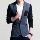 ขาย เสื้อสูทแบบบุรุษพอดีกับฝ้ายเสื้อสูทแจ็คเก็ตเสื้อชายเสื้อบุรุษเสื้อบุรุษชุดแต่งงาน สีฟ้า เป็นต้นฉบับ