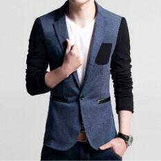 ขาย เสื้อสูทแบบบุรุษพอดีกับฝ้ายเสื้อสูทแจ็คเก็ตเสื้อชายเสื้อบุรุษเสื้อบุรุษชุดแต่งงาน สีฟ้า ถูก จีน