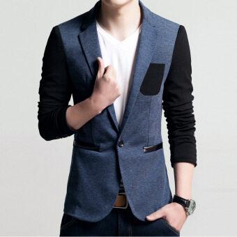 เสื้อสูทแบบบุรุษพอดีกับฝ้ายเสื้อสูทแจ็คเก็ตเสื้อชายเสื้อบุรุษเสื้อบุรุษชุดแต่งงาน (สีฟ้า)