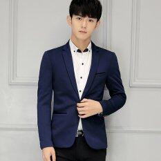 ขาย ซื้อ ผู้ชายบางพอดีพลัสเสื้อสูทชุดลำลองเสื้อแจ็คเก็ตชายธุรกิจเสื้อนอก สีน้ำเงินเข้ม