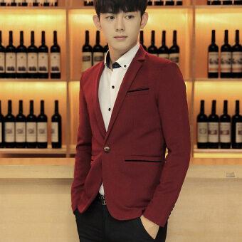 Men slim fit Plus Size Fashion Blazer Suit Casual Jacket Male Formal Business Blazers Coat(Red)