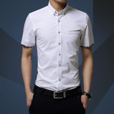 โปรโมชั่น Men S Cotton Short Sleeve Shirt Business Casual Slim Mens Dress Shirts Chemise M 5Xl Unbranded Generic ใหม่ล่าสุด