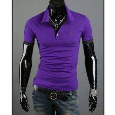 โปรโมชั่น Men S Polo Shirt Short Sleeve Casual Slim Fit Cotton Solid Fashion Shirts Male Plus Size M 3Xl Purple จีน