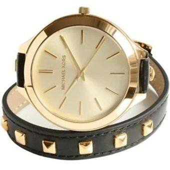 Michael Kors Black Pyramid Stud Slim Runway Watch MK2317