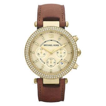 Michael Kors Chronograph Gold Dial Brown Leather Ladies Watch MK2249