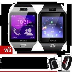 โปรโมชั่น Miniso นาฬิกาโทรศัพท์Smart Watchรุ่นA9 Phone Watch แพ็ค 2 ชิ้น Silver Black ฟรี นาฬิกาLedระบบสัมผัส คละสี X2 สาย Usb 3 In 1 ซองกำมะหยี่X2