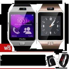 MiniSo นาฬิกาโทรศัพท์Smart Watchรุ่นA9 Phone Watch แพ็ค 2 ชิ้น (Sliver/Gold)ฟรี นาฬิกาLEDระบบสัมผัส(คละสี)x2+สาย USB 3 in 1+ซองกำมะหยี่x2