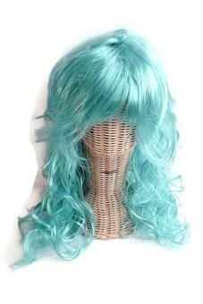MIRAGE-SHOP วิก ทรง Glam ม้วน ผมยาว แฟนซี - สีฟ้า