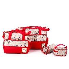 ซื้อ Mom Bag Sets กระเป๋าสัมภาระคุณแม่ เซ็ท 4 ชิ้น รุ่น Bag 02 สีแดง ลายจุดหลากสี ถูก สมุทรปราการ