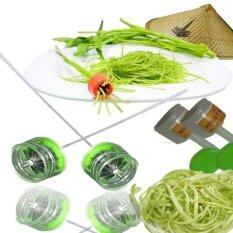 MOMMA แพคคู่ ต้นตำรับเวียดนามแท้ มีดสแตนเลส ปอก ซอย ผักบุ้ง ฝอย พร้อมปอกด้ามหุ้ม สีเขียว (2 Packages Original Vietnam Knife Peeling Vegetable Water Spinach Splitter : dao che rau muong)