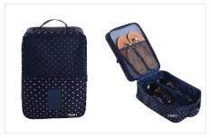 ขาย Mori กระเป๋าจัดระเบียบ กระเป๋าใส่รองเท้า ถุงใส่รองเท้า 3 คู่ Shoes Bag Shoes Organizer Bag Organizer Navy Blue With White Dot ลายจุดขาวพื้นน้ำเงิน Unbranded Generic