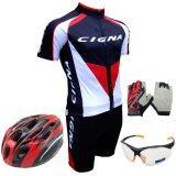 Morning ชุดปั่นจักรยานผู้ชาย Cigna สีดำ หมวกจักรยาน แว่นตา ถุงมือฟรีไซด์ สีแดง ใน ไทย