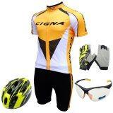 ส่วนลด Morning ชุดปั่นจักรยานผู้ชาย Cigna สีเหลือง หมวกจักรยาน แว่นตา ถุงมือฟรีไซด์ สีเหลือง Morning ใน ไทย