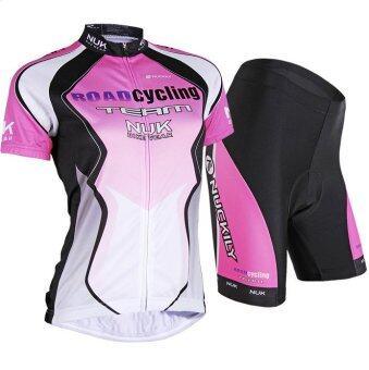 MorningCOOLMAX ชุดขี่จักรยานผู้หญิง NUK (สีชมพู/ดำ)