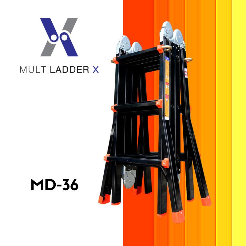 Multi Ladder X บันไดอลูมิเนียม เอนกประสงค์ 4 พับ Advance MD-36 ทรงพาด ยาว 5 เมตร, ทรง A 2.5 เมตร