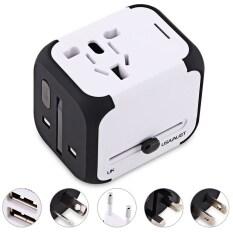 ซื้อ Multipurpose Travel Adapter International Plug Dual Usb Charging Port Universal Ac Socket White Unbranded Generic ถูก