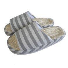 ส่วนลด สินค้า Nampet Shop รองเท้าผ้าคอตต้อนผ้ายืดลายขวาง สไตล์ญี่ปุ่นสำหรับใส่เดินในบ้าน Gray Men