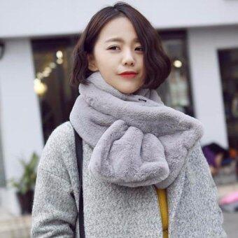 Nara ผ้าพันคอขนสัตว์ ผ้าพันคอ ผ้าคลุมไหล่ แฟชั่นหน้าหนาว เสื้อโค้ท เสื้อกันหนาว เฟอร์ สีเทา