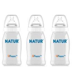ทบทวน Natur ขวดนม U Happy Wide Neck Bottle 3 Months 3 ขวด 4 ออนซ์ 120Ml Natural