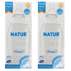 ราคา Natur Wide Neck ขวดนมปากกว้าง Uhappy 8 ออนซ์ รุ่น 81075 2 ขวด ราคาถูกที่สุด