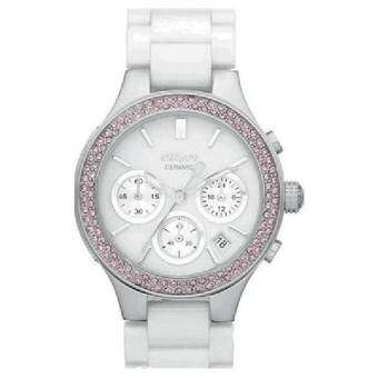 New DKNY NY8524 Women's White Ceramic Band White Dial Chronograph Watch with Pink Crystals