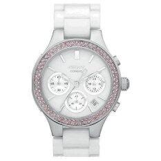 ขาย ซื้อ ออนไลน์ New Dkny Ny8524 Women S White Ceramic Band White Dial Chronograph Watch With Pink Crystals