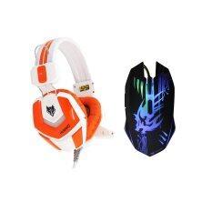 ราคา Nubwo Gaming Nubwo Eyborg หูฟังหมาป่า รุ่น No 4000 เมาส์หมาป่า พรีเดเตอร์ Gaming Mouse Predator ไฟ 7 สี ดำ ใน ไทย