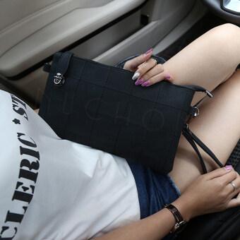 Nuchon กระเป๋าแฟชั่น กระเป๋าคล้องแขน กระเป๋าสะพาย ลายตารางสีเหลี่ยม รุ่น N8859-สีดำ