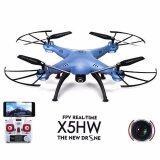 ซื้อ โดรน ติดกล้อง รุ่น Drone X5 Hw ลอคความสูงได้ มีกล้อง สีฟ้าอมเงิน ใหม่