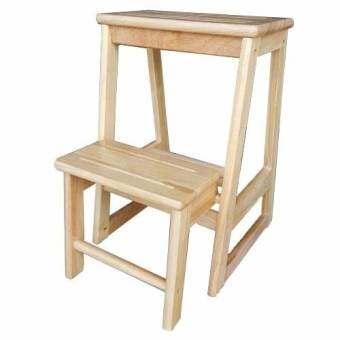 เก้าอี้บันไดไม้ยาง พับเก็บได้ สำหรับหยิบของ (สีธรรมชาติ)