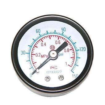 เกจวัดแรงดันลม ตัวเรือนเหล็กดำ 1.1/2 นิ้ว เกลียวออกหลังทองเหลือง 1/8 นิ้ว ย่านการวัด 0 - 1 Mpa ( Pressure Gauge )