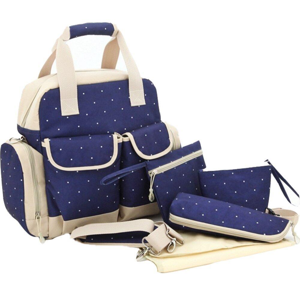 โปรโมชั่น กระเป๋าใส่ขวดนม กระเป๋าแม่ลูกอ่อน เตรียมของของใช้ทารกแรกเกิด (ลายจุด สีกรม ขาว)