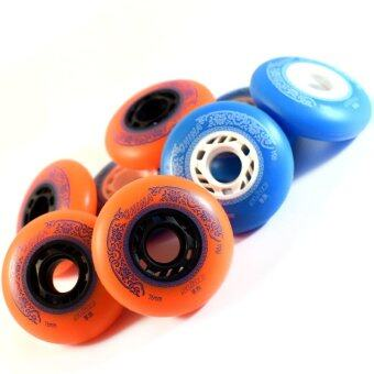 ล้อรองเท้าสเก็ต สำหรับสไลด์ 76 mm 88A จำนวน 8 ลูก (สีส้ม/น้ำเงิน)