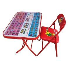 ขาย โต๊ะเก้าอี้นักเรืยน พับเหล็ก รุ่นหน้าเหล็ก กขค สีแดง ราคาถูกที่สุด