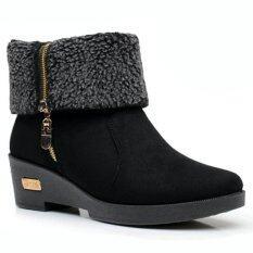 รองเท้าบูทส้นเตารีดแต่งขน สีดำ ใหม่ล่าสุด