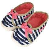ซื้อ รองเท้าเด็ก รองเท้าหัดเดิน Baby Shoe ลายทาง สีกรม โบว์ชมพู ใหม่