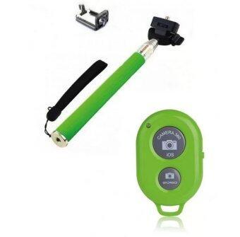Selfie Handheld 2 in 1 ไม้เซลฟี่ พร้อม รีโมทชัตเตอร์ (Green)