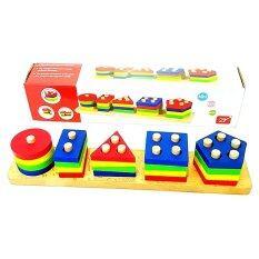 Todds & Kids Toys ของเล่นไม้ สวมหลักรูปทรงเรขาคณิต.