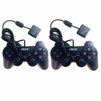 OKER 2set Gaming JoyStick for Playstation รุ่น PSII-709 จอยเกมส์ เพลย์ 2 แพ็คคู่ (สีดำ) -