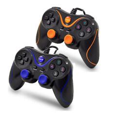 Oker จอยคอม 2ชิ้น Dual Shock Joystick USB U-918 2 set(สีส้ม+สีน้ำเงิน)