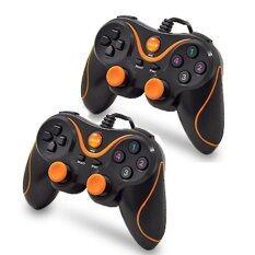 Oker จอยคอม 2ชิ้น Dual Shock Joystick USB U-918 2 set(สีส้ม+สีส้ม)