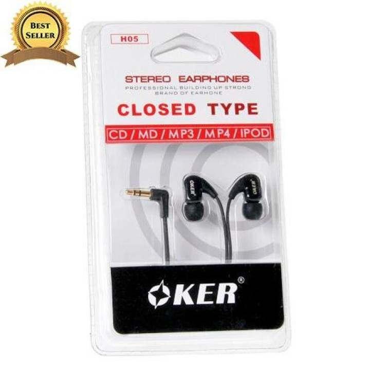 OKER หูฟัง รุ่น H-05 เสียงดี เบสแน่น จุกนิ่มใส่สบาย (สีดำ)
