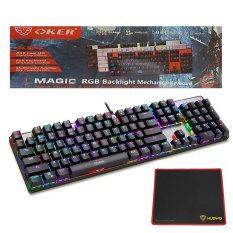 OKER Magic RGB Backlight Mechanical Keyboard Blue Switch รุ่น K84 (สีดำ) + Nubwo แผ่นรองเมาส์ รุ่น NP-001(Black/Red)
