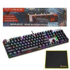 OKER Magic RGB Backlight Mechanical Keyboard Blue Switch รุ่น K84 (สีดำ) + Nubwo แผ่นรองเมาส์ รุ่น NP-001(Black/Yellow)