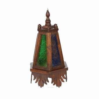 โคมไฟแขวนเพดานหกเหลี่ยมทรงดอกจำปีติดกระจกหลากสี ไม้สัก (สีน้ำตาล)