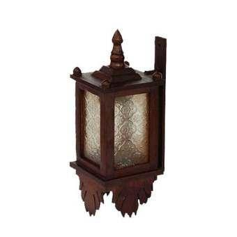 แนะนำ โคมไฟติดผนัง ไม้สัก ชนิดสี่เหลี่ยมติดกระจก (สีน้ำตาล)