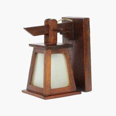 ส่วนลด โคมไฟติดผนังทรงกระดิ่งสามเหลี่ยมติดกระจกสีขาวขุ่น ไม้สัก สีน้ำตาล Unbranded Generic กรุงเทพมหานคร